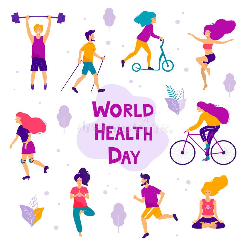 World health day vector illustration. Healthy lifestyle concept. Different physical activities royalty free illustration