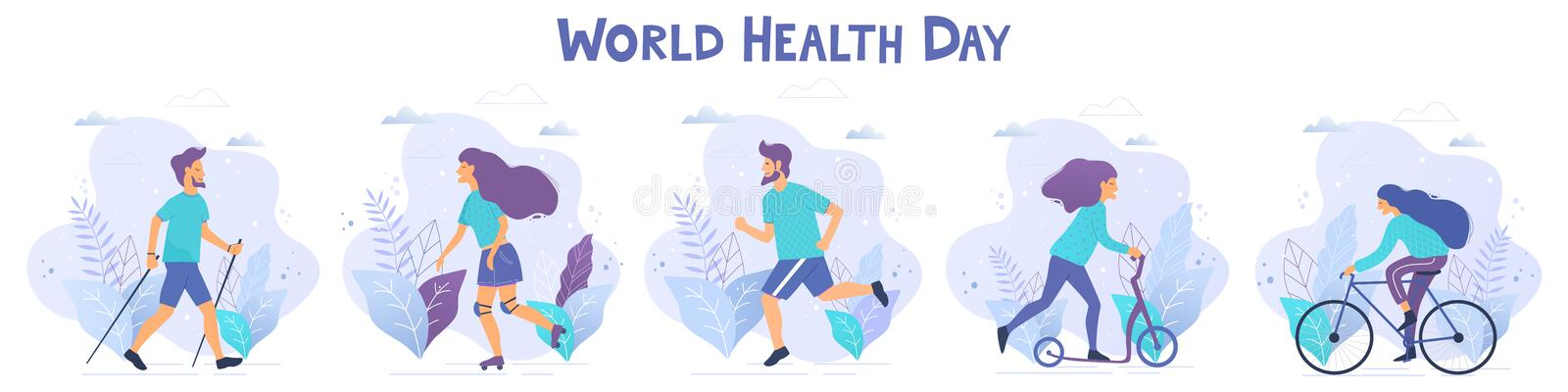 World health day vector illustration. Healthy lifestyle concept. Different physical activities stock illustration