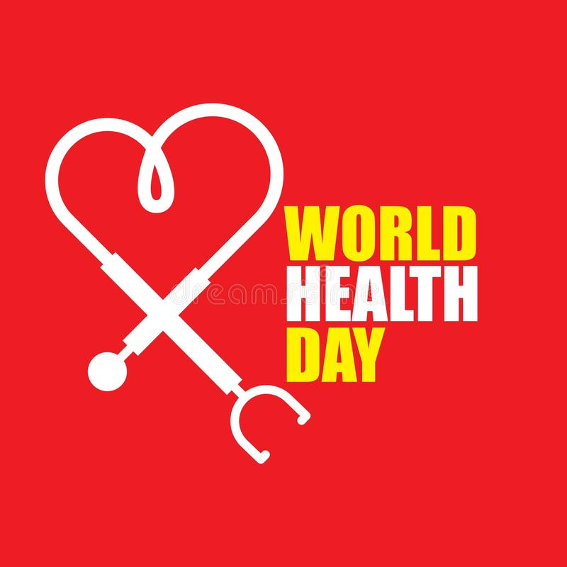 World Health Day Vector Template Design Illustration. Stethoscope background heart healthcare medicine april healthy symbol medical wellness science treatment stock illustration