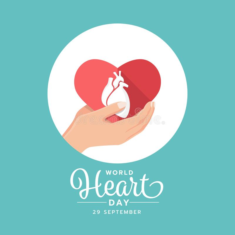 World heart day banner with hand hold white human heart sign on red paper heart sign in circle vector design royalty free illustration