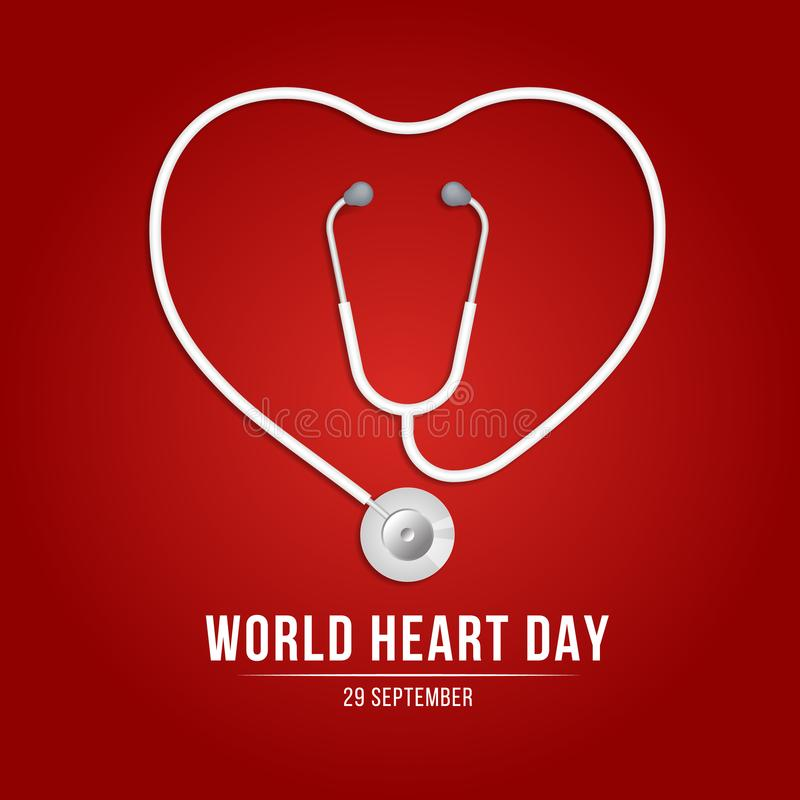 World heart day banner with Stethoscope Roll into heart sign on red background vector design stock illustration