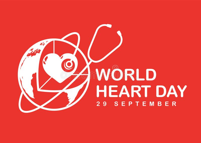 World heart day banner with white heart in 3D world sign and stethoscope on red background vector design royalty free illustration