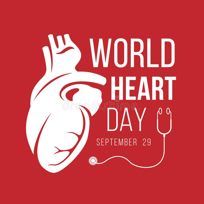 World heart day banner with white Human Heart sign and stethoscope sign on red background vector design vector illustration