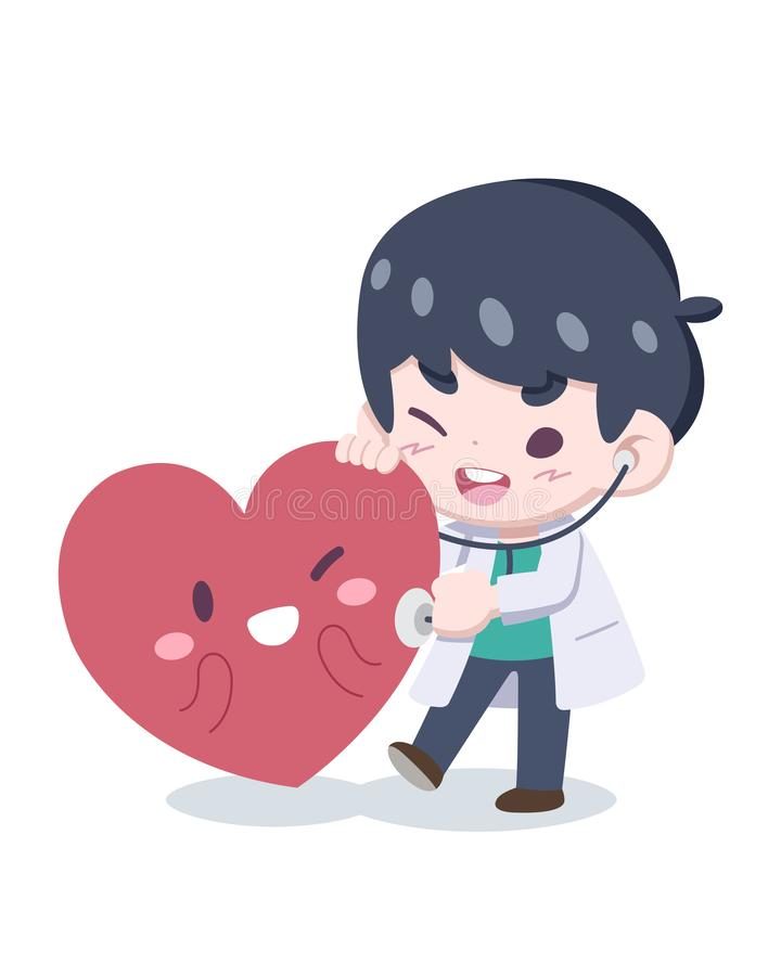World Heart Day, Cute little doctor checkup a heart vector illustration royalty free illustration