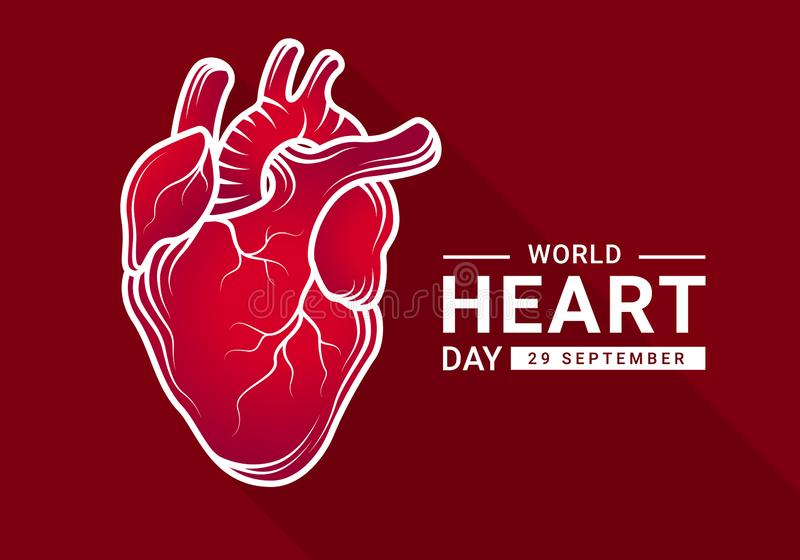 World heart day with Gradient red human heart Real and White outline Drawing sign on dark red background vector design royalty free illustration
