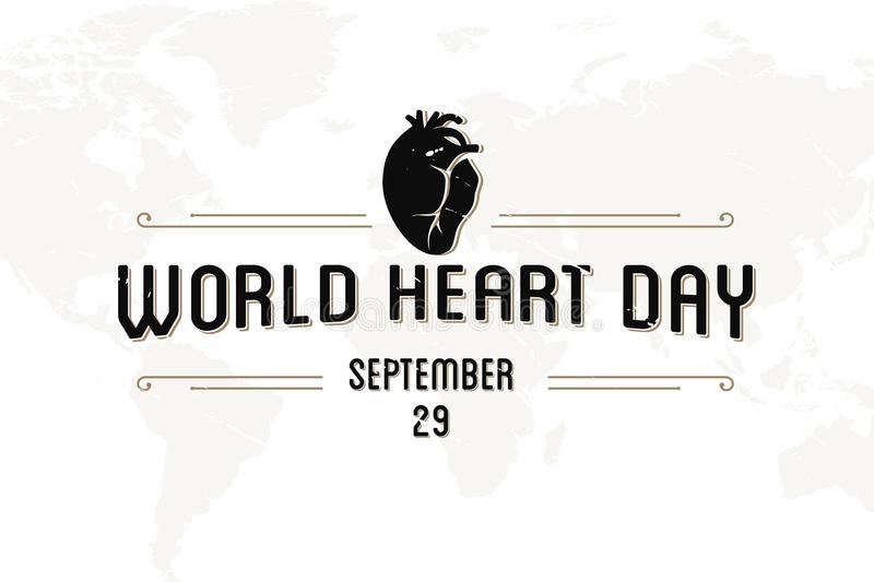 World Heart Day greeting card abstract vintage letter royalty free illustration