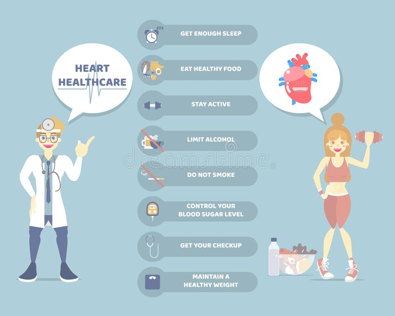 World heart day, healthy lifestyle infographic diagram and heart health care concept with doctor in blue background. Flat vector illustration character design stock illustration