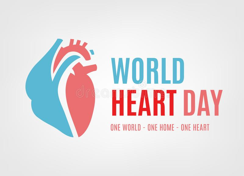 World heart day. Logotype concept. Beautiful vector illustration isolated on a white background. Editable image in light pink and blue colors stock illustration