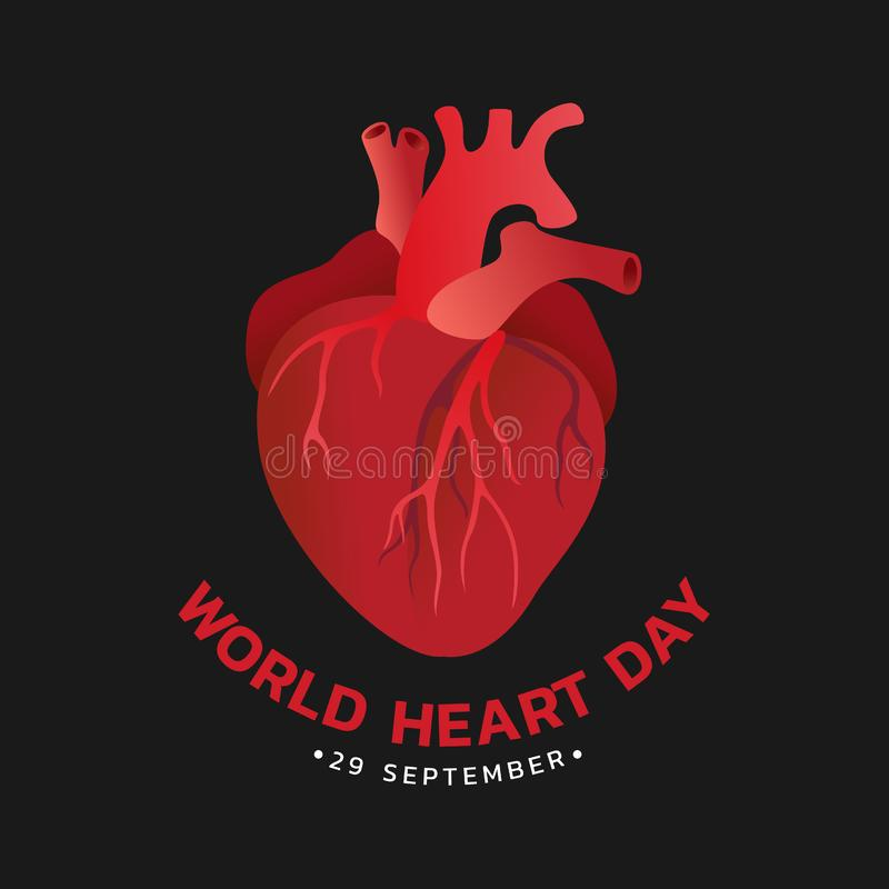 World heart day with red human heart sign on black background vector design stock illustration