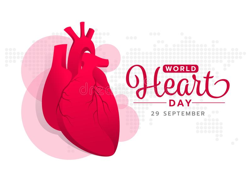 World heart day with red pink human heart sign on abstract dot world map texture background vector design stock illustration
