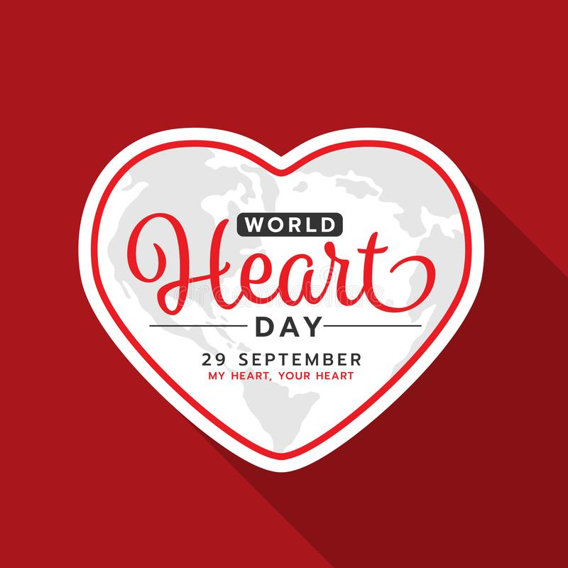 World heart day with text on white heart frame banner on red background vector design vector illustration