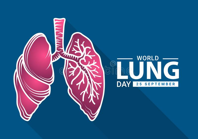 World heart day with white pink human lung outline Drawing sign on blue background vector design royalty free illustration