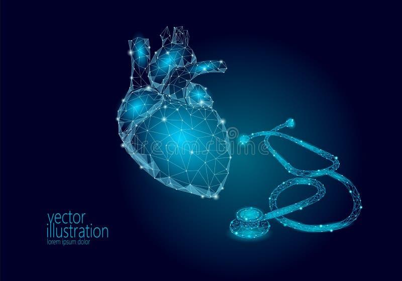World Heart health Day awareness infarct attack prevent. Medicine low poly render human organ stethoscope polygonal. Geometric vector illustration royalty free illustration