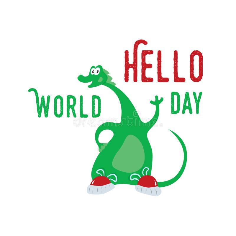 World Hello Day: Dinosaur World In Children Imagination Stock Vector