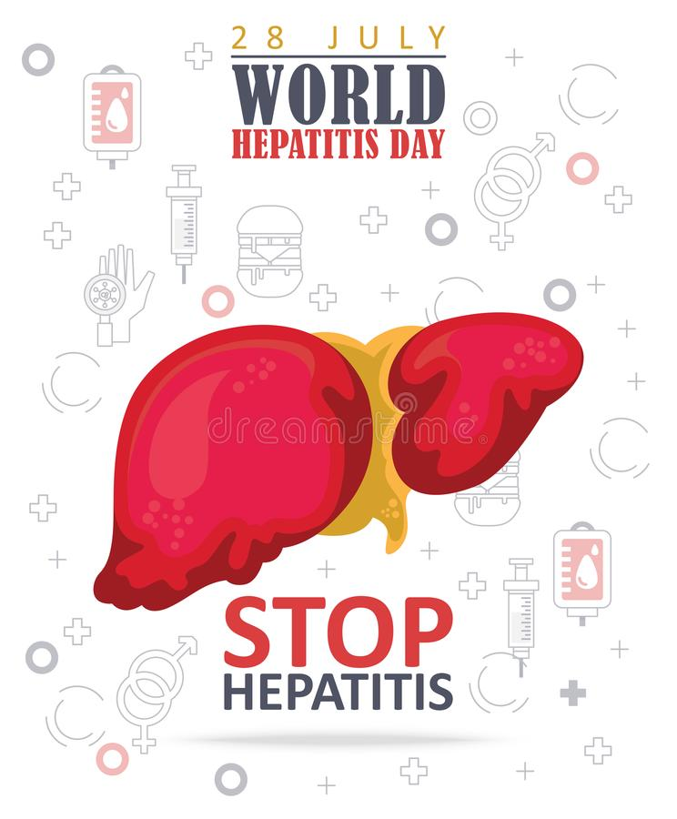 World hepatitis day vector concepts in modern flat design on white background. 28 July vector illustration
