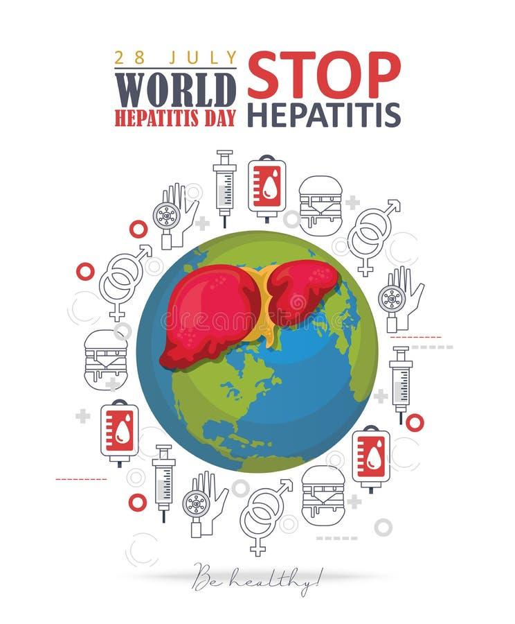 World hepatitis day vector flyer in modern flat design on white background. 28 July. Be healthy vector illustration