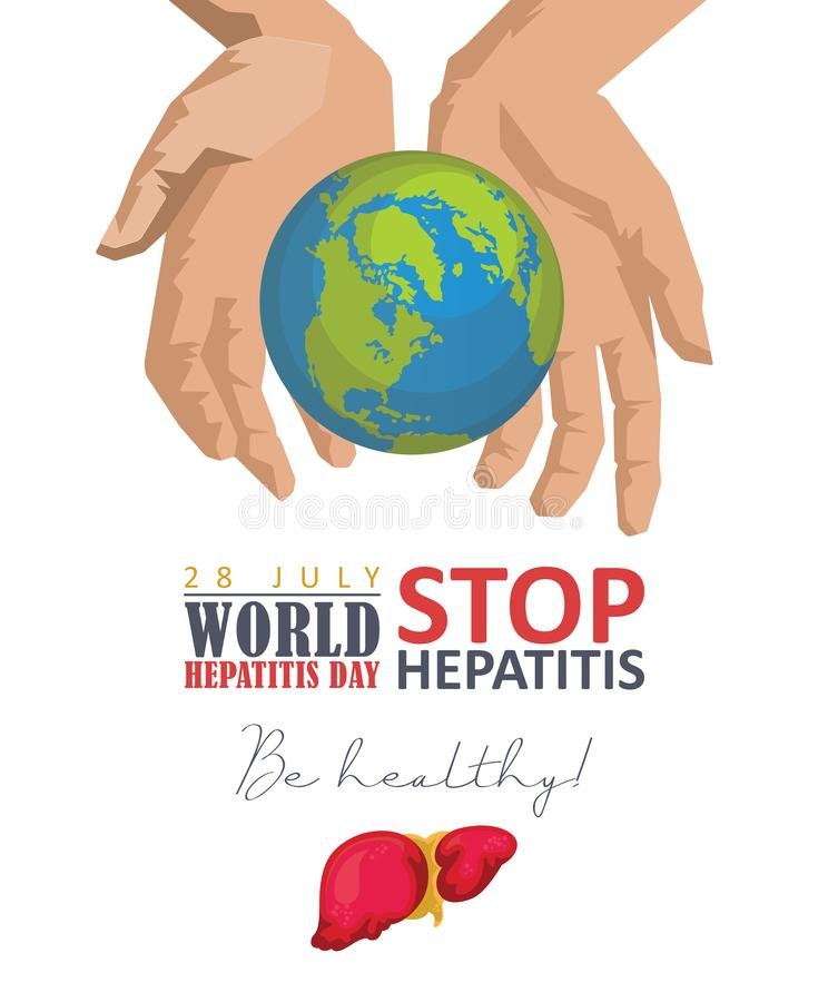 World hepatitis day vector poster in modern flat design on white background. 28 July. Be healthy royalty free illustration