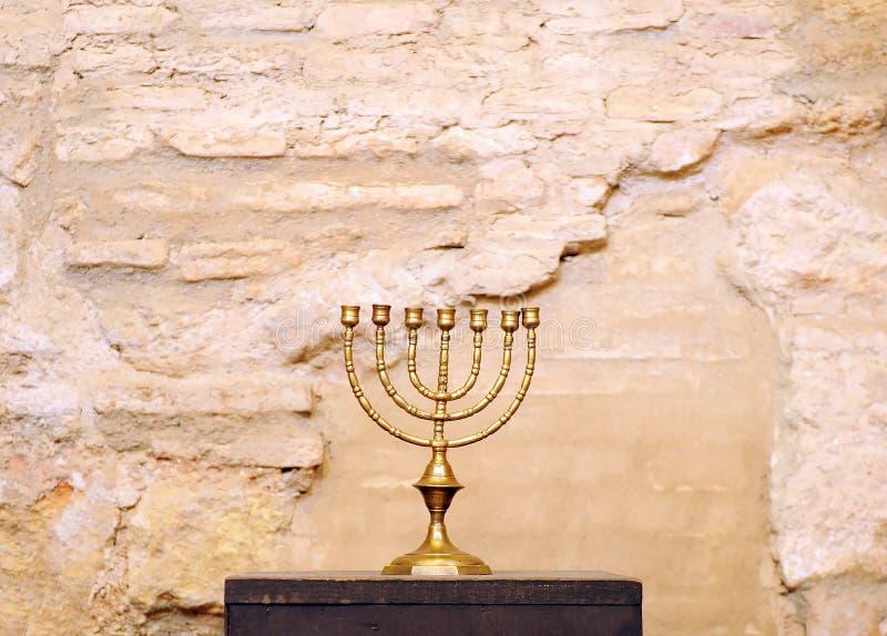Menorah inside the Jewish synagogue of Cordoba built in 1315 royalty free stock image