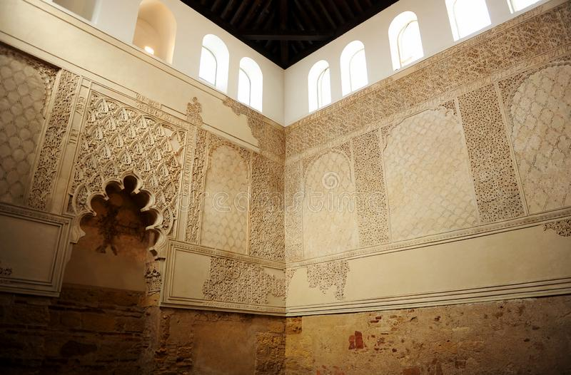 Inside the synagogue of Cordoba, Jewish temple founded in 1315. stock image