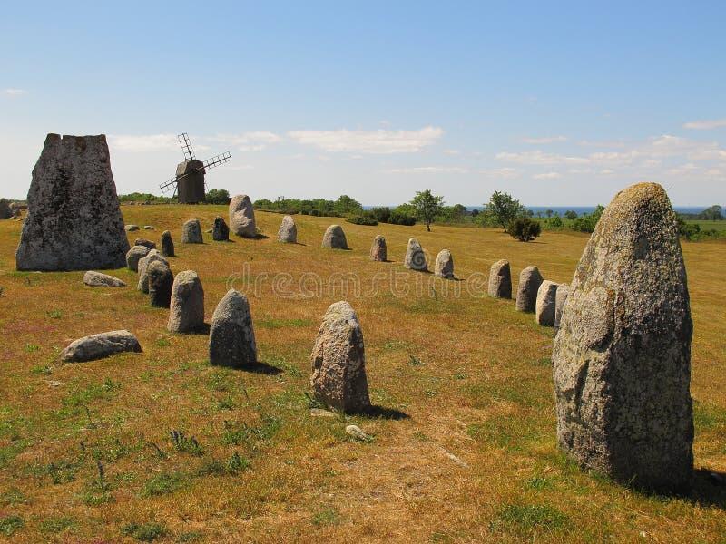 World Heritage Landscape, Öland, Sweden. Gettlinge on the Swedish island of Öland, Sweden. It is known for its prehistoric Viking stone ship burial stock photo