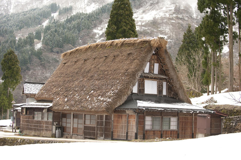 World-heritage site, thatched-roof house, Japan stock photos