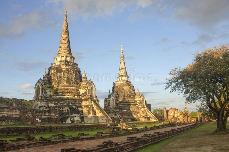 World Heritage Site at Wat Phra Si Sanphet temple. Ayutthaya historical park in Thailand. royalty free stock image