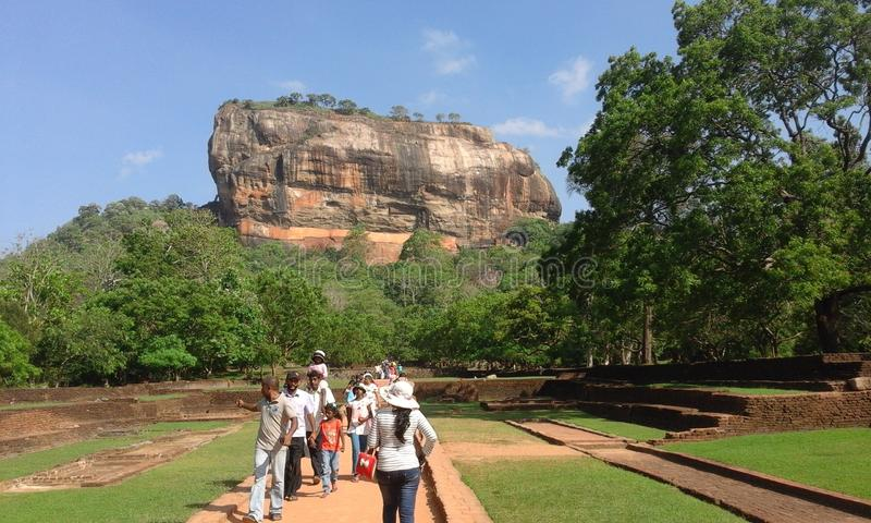 World heritage in sri lanka. This built by king kashyapa.this rock is world heritage. famous place stock photos