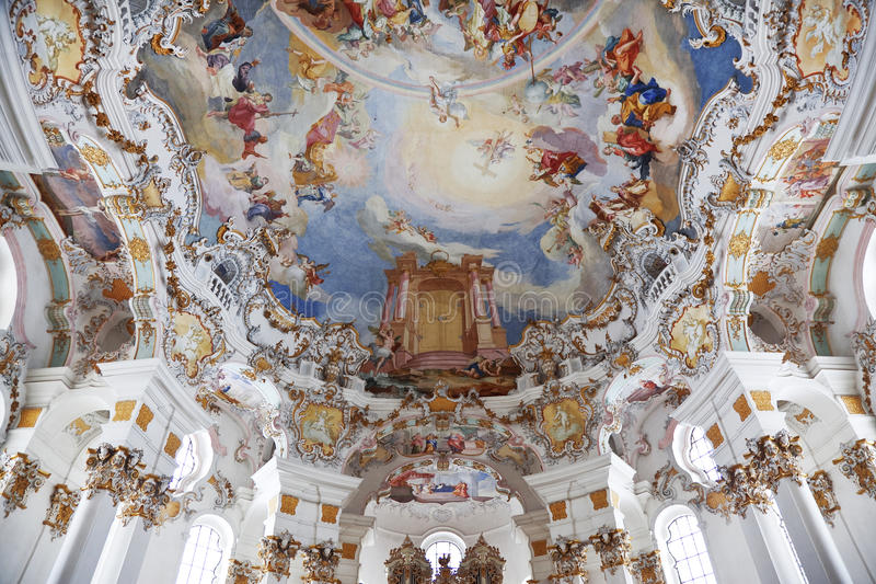 World heritage wall and ceiling frescoes of Wieskirche church in Bavaria. Germany, Europe royalty free stock images