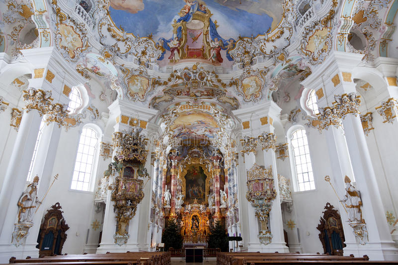 World heritage wall and ceiling frescoes of wieskirche church in bavaria. Germany, Europe stock image