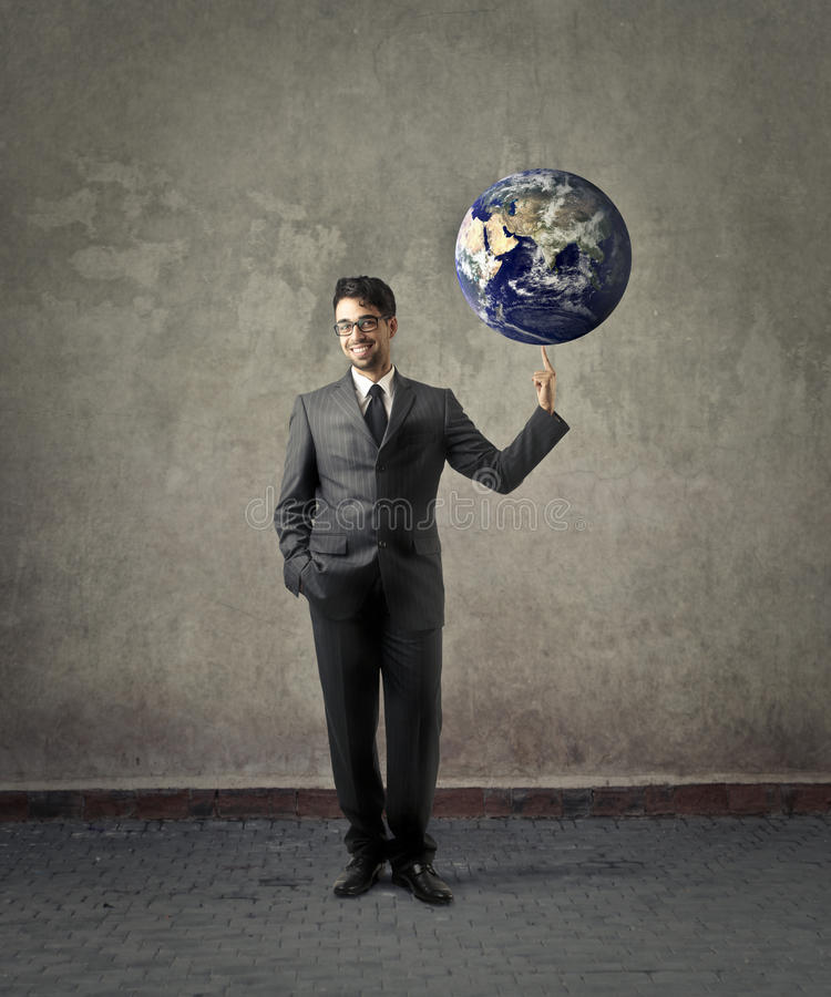 The world in his hands stock photo