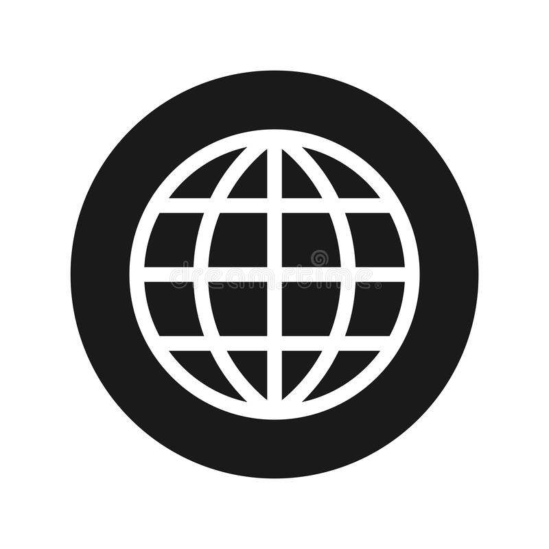 World icon flat black round button vector illustration. World icon vector illustration design isolated on flat black round button vector illustration