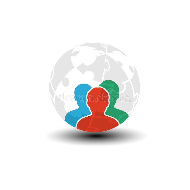 World icon, human symbol. Community of people in the world. Three men silhouettes with globe from puzzle. royalty free illustration
