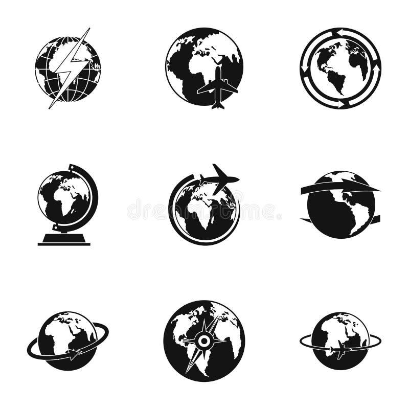 World icons set, simple style royalty free illustration