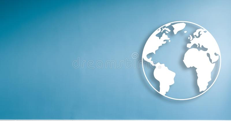 World illustration on blue wall background with copy space.  stock illustration