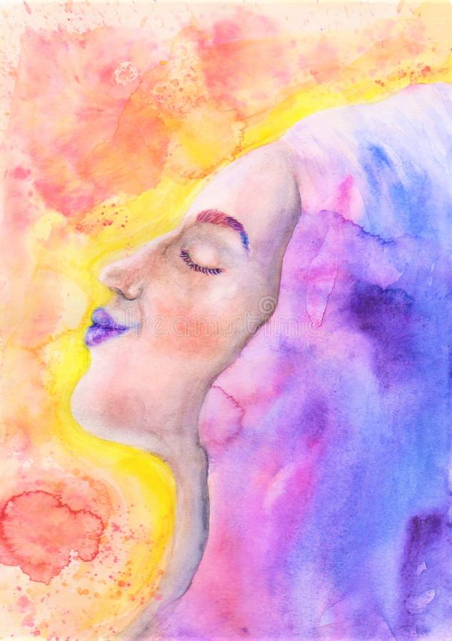 World of imagination. I want to convey what I feel inside of myself, sometimes it`s hard to describe in words, but it comes out in paints royalty free illustration