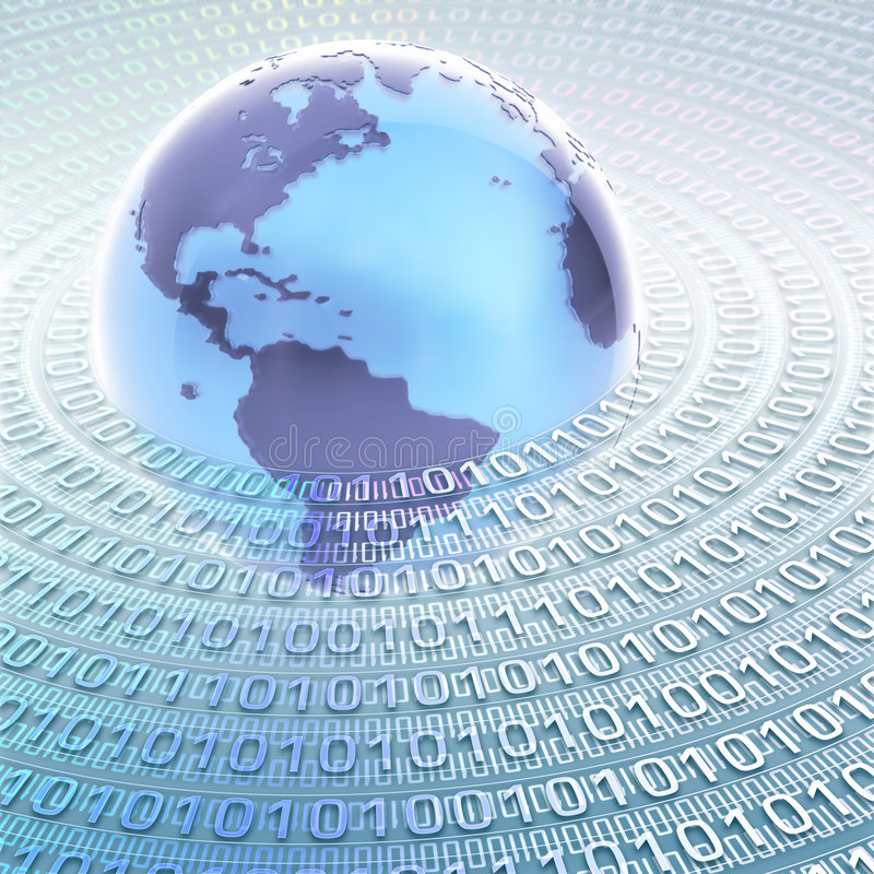 World Information. Globe with many numbers (0 and 1) binary code. Concept of global information and technology