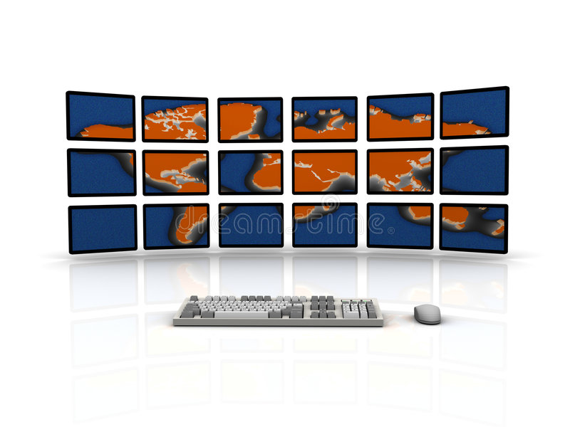The World of the Internet. 3D Rendered Concept Art -Keyboard and Mouse facing mulitple Flat Screen Monitors displaying a thermal-style image of the continents stock illustration