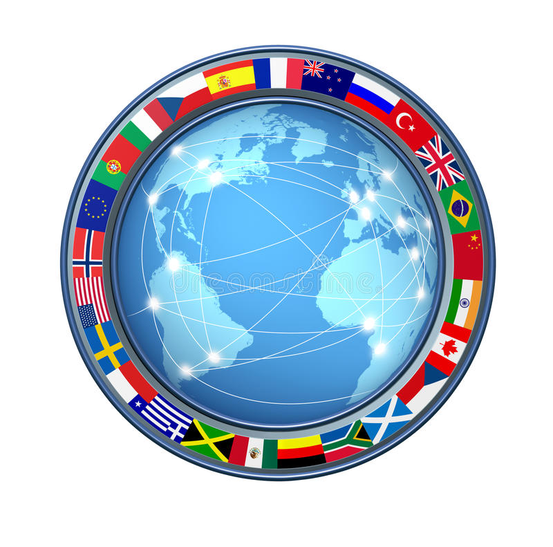 World Internet connections. With ring of global flags showing an international communications technology theme representing countries from multiple continents stock illustration