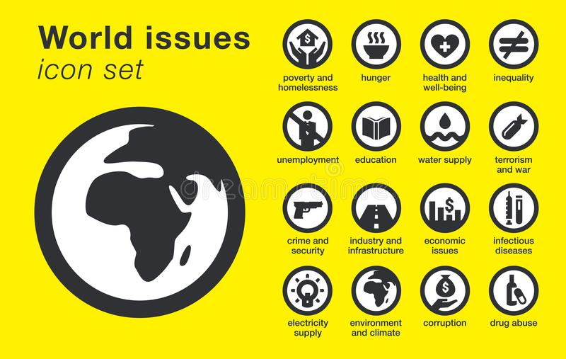 World issues icons set. Sustainability problems. World issues icons set. Social, environmental and economic sustainability problems. Vector illustration vector illustration