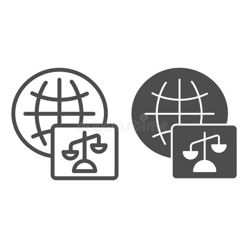 World justice line and glyph icon. Social justice vector illustration isolated on white. Global court outline style. Design, designed for web and app. Eps 10 stock illustration