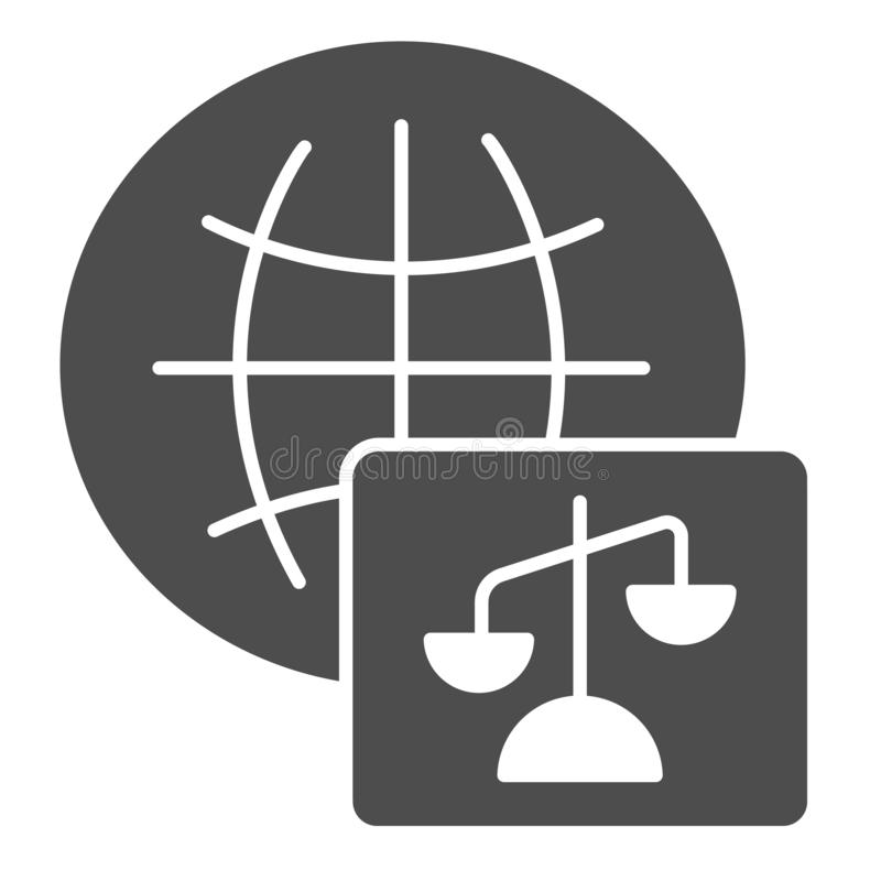 World justice solid icon. Social justice vector illustration isolated on white. Global court glyph style design. Designed for web and app. Eps 10 vector illustration