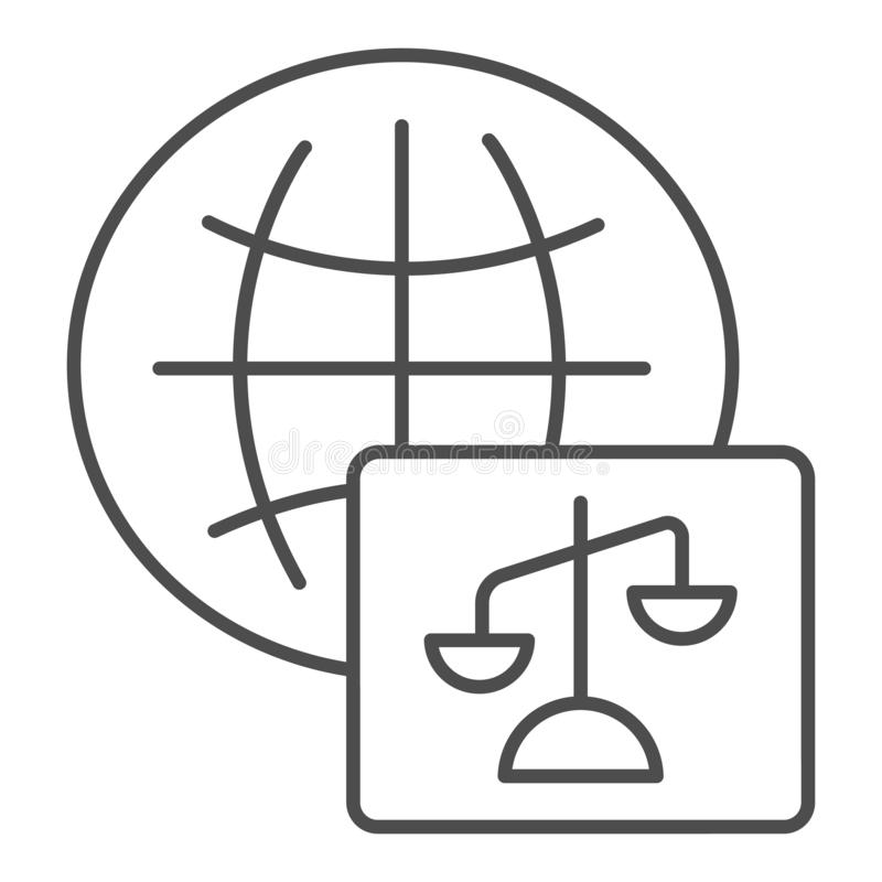 World justice thin line icon. Social justice vector illustration isolated on white. Global court outline style design. Designed for web and app. Eps 10 royalty free illustration
