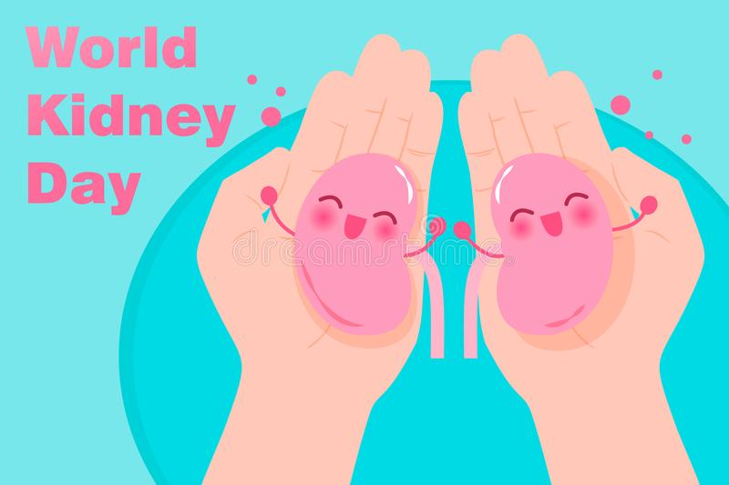 World kidney day concept. On the blue background vector illustration