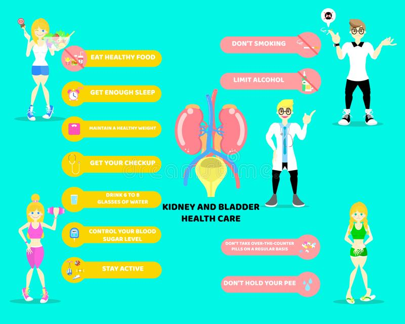 World kidney day, kidney and bladder health care concept with doctor in blue background stock illustration
