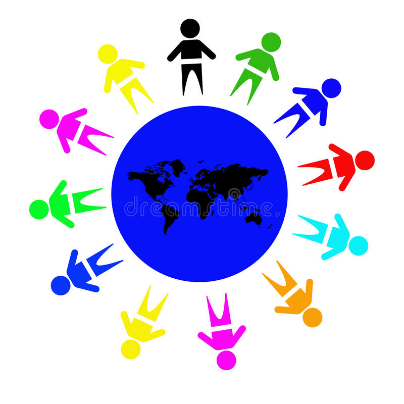 World kids. Happy and diverse kids holding hands around the world vector illustration