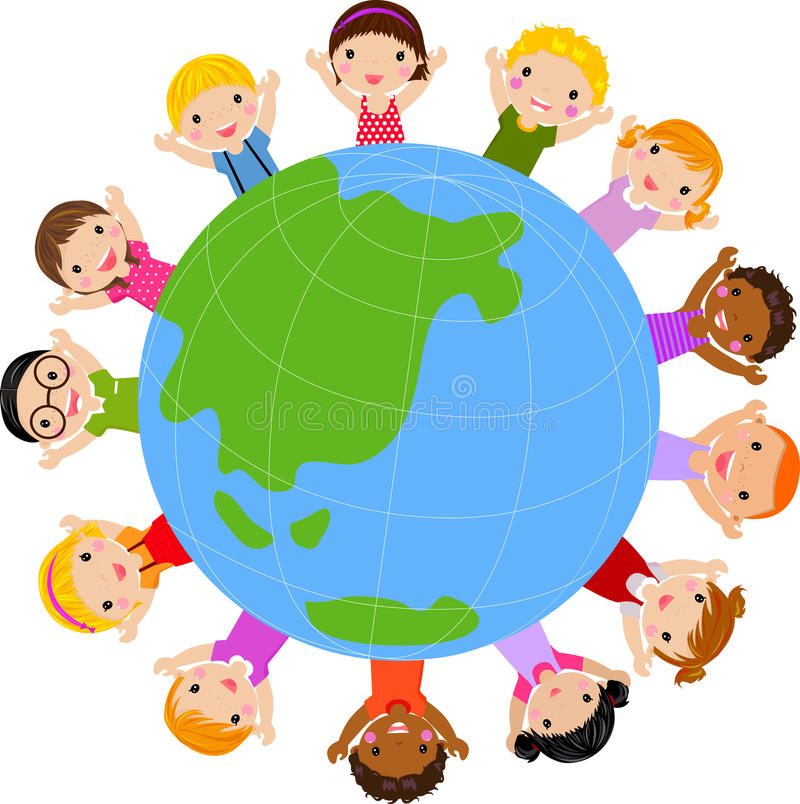 World kids. Illustration of group of world kids royalty free illustration