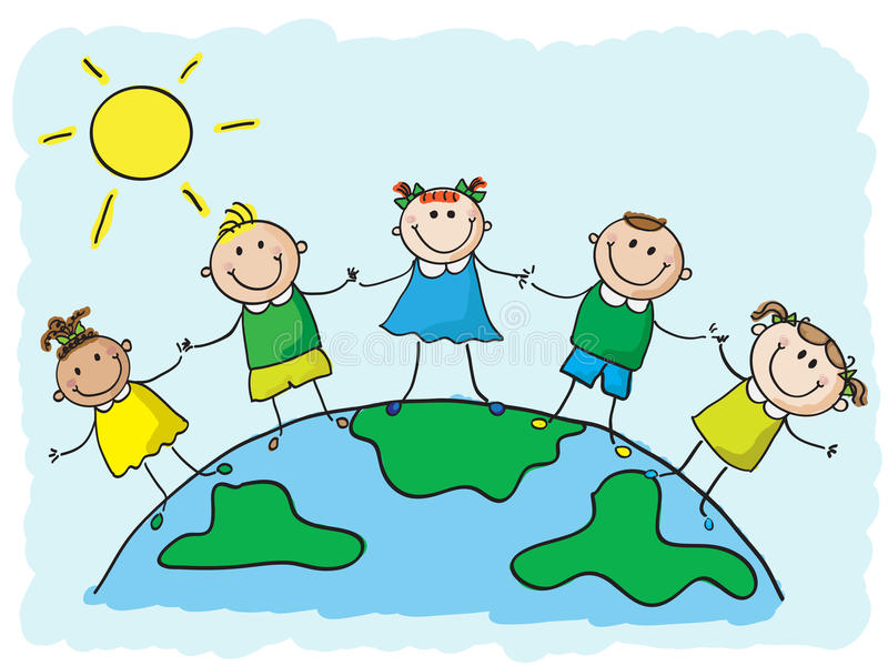 World kids. Five kids on top of a globe