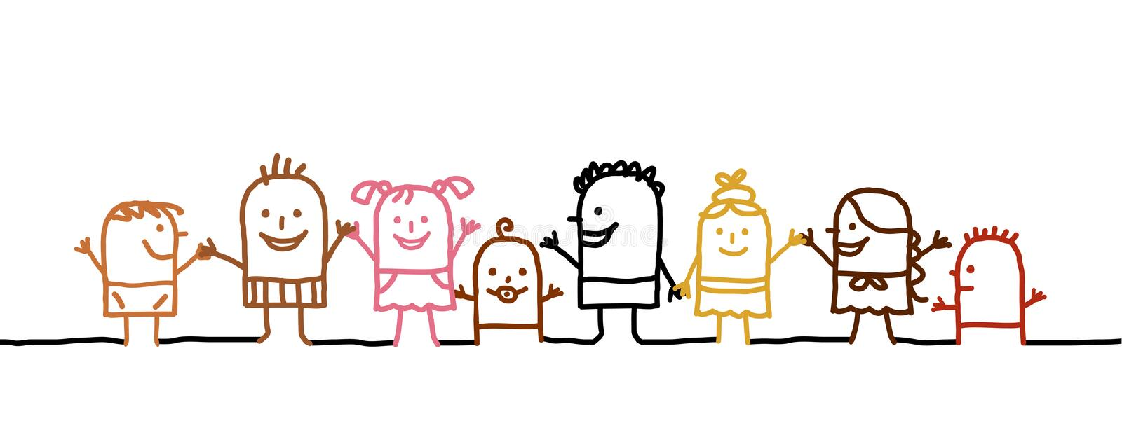 World kids. Vector hand-drawn characters line