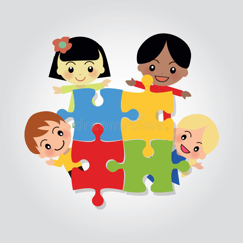 World Kids Autism Awareness. Illustration of World Kids Autism Awareness Day with happy kids arround puzzle stock illustration