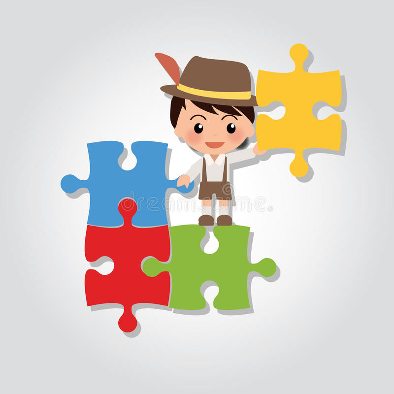 World Kids Autism Awareness 2. Illustration of world kids autism awareness day showing little boy lifting a part of puzzle vector illustration